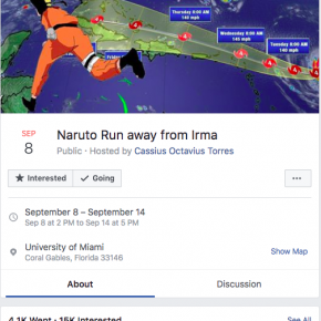 "Satirical Facebook ""events"" help ease tensions during Hurricane Irma"