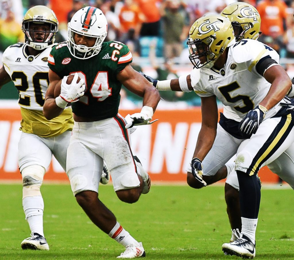 No. 11 Hurricanes kick field goal in closing seconds to defeat Georgia Tech Yellow Jackets 25-24