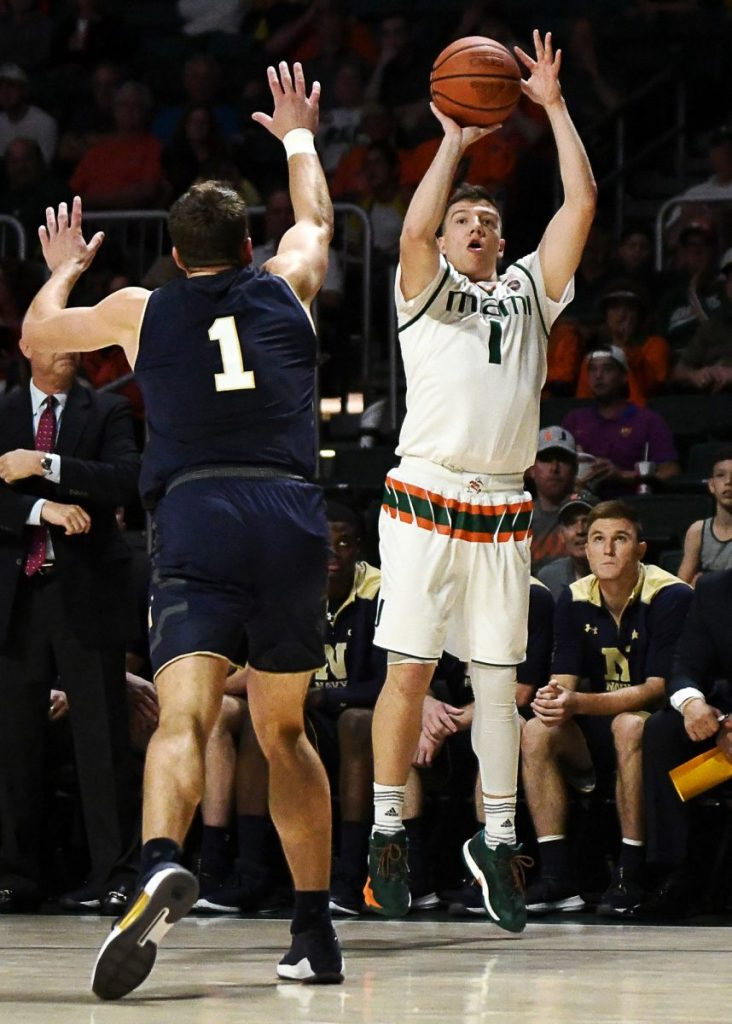 Five Hurricanes score in double figures, Miami defeats Navy 89-55