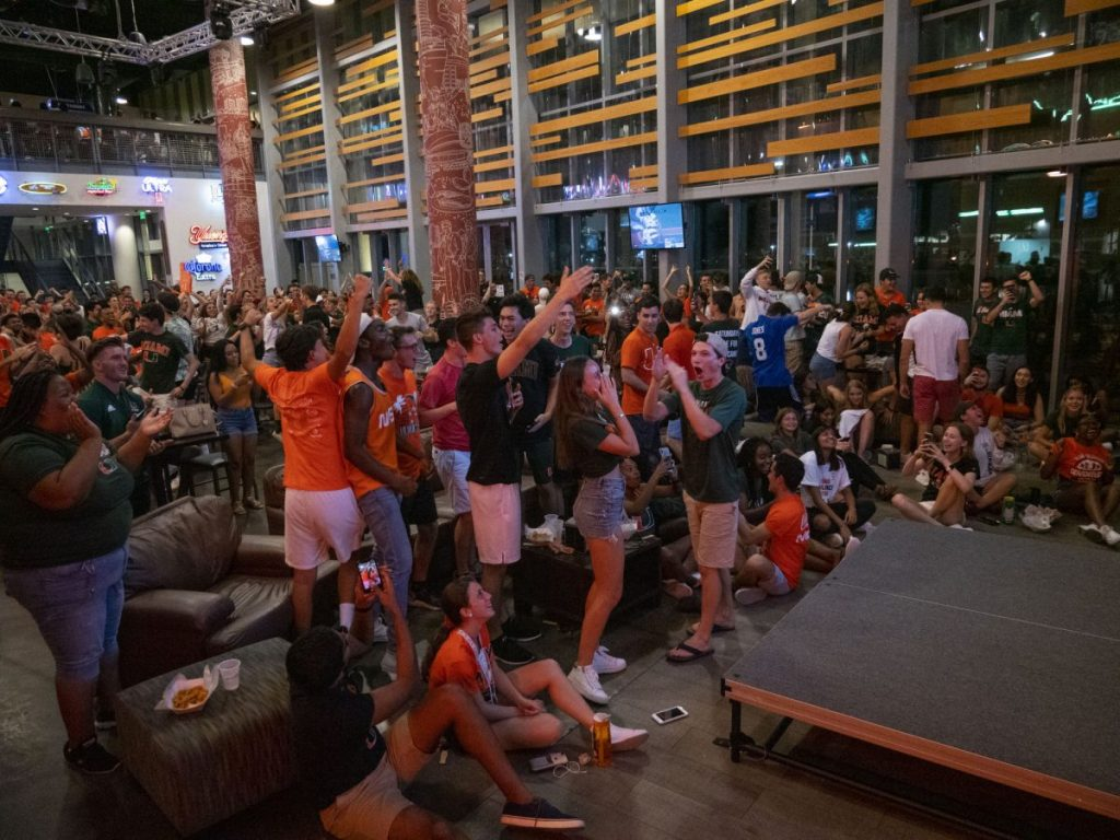 Canes cheer on their team at Rathskeller watch party