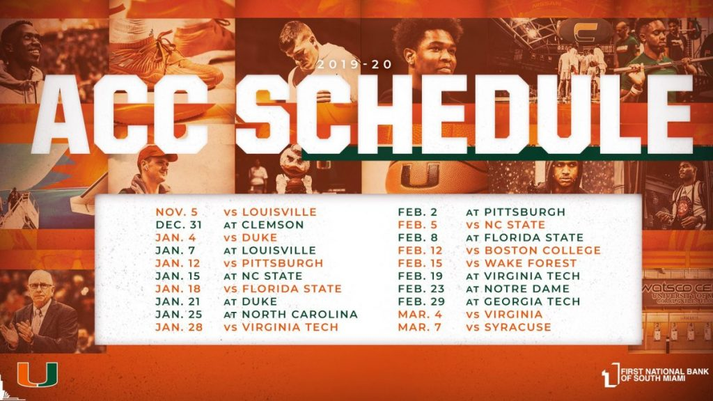 ACC releases schedule for 2019-2020 men's basketball season