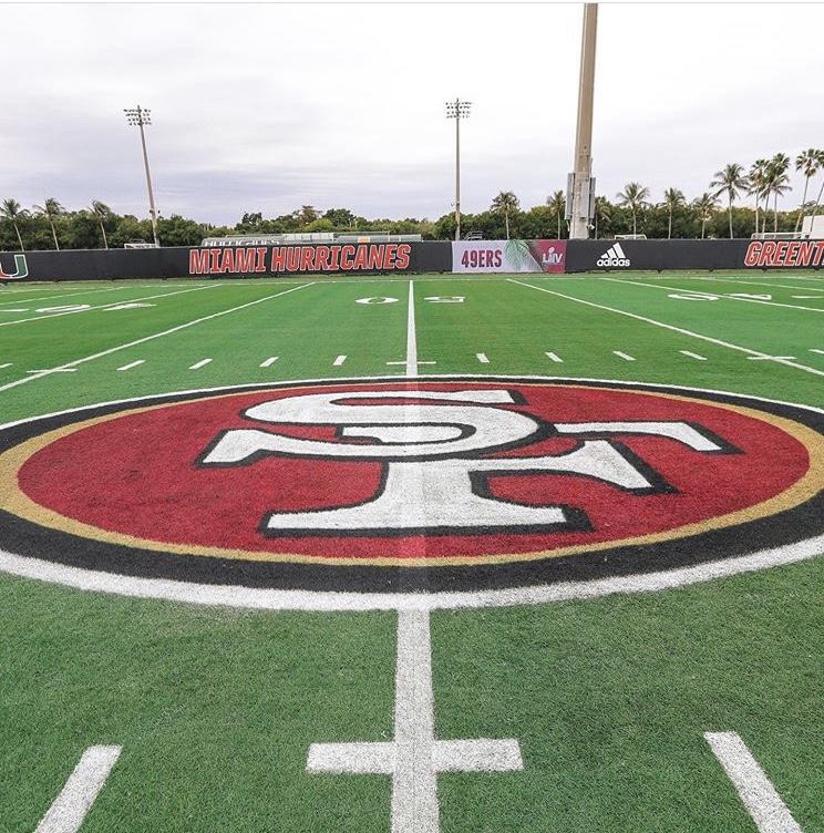 San Francisco 49ers practicing at Miami football facilities before Super Bowl LIV