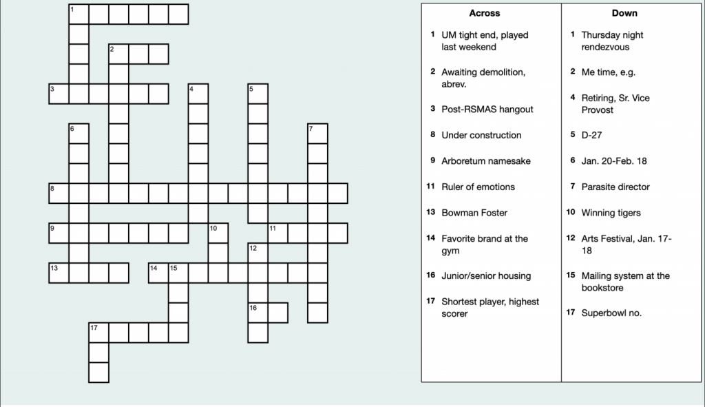 Crossword Puzzle: Jan. 21