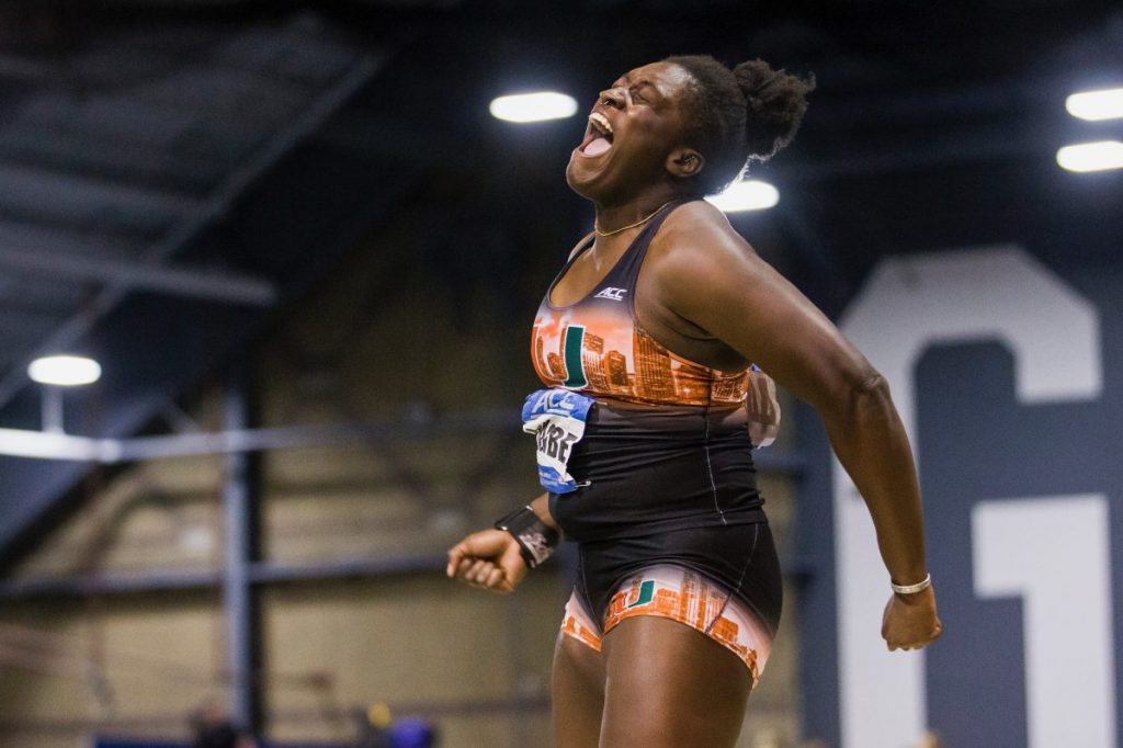 Ajagbe wins two gold medals, women place second overall at ACC Indoors