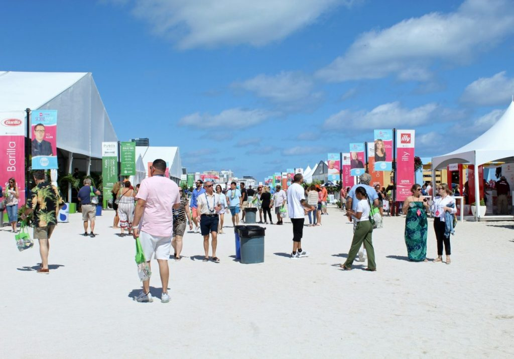 Starting at noon, festival goers attend the the SOBEWFF Goya Grand Tasting Village on Sunday, Feb. 23.