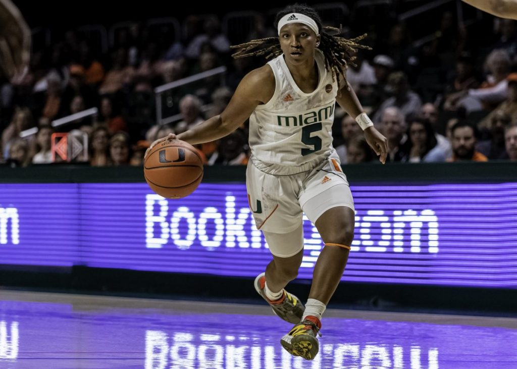 Junior guard Mykea Gray brings the ball down the court in Miami's win over Pitt on Sunday, March 1. Gray came second in the scoring column for Miami with 19 points.