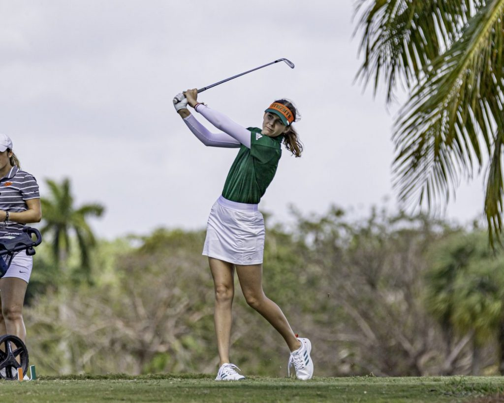 Junior Kristyna Frydlova follows through on a shot during the Hurricane Invitational on Monday, March 2. Frydlova ended the tournament tied for 47th place at +16.