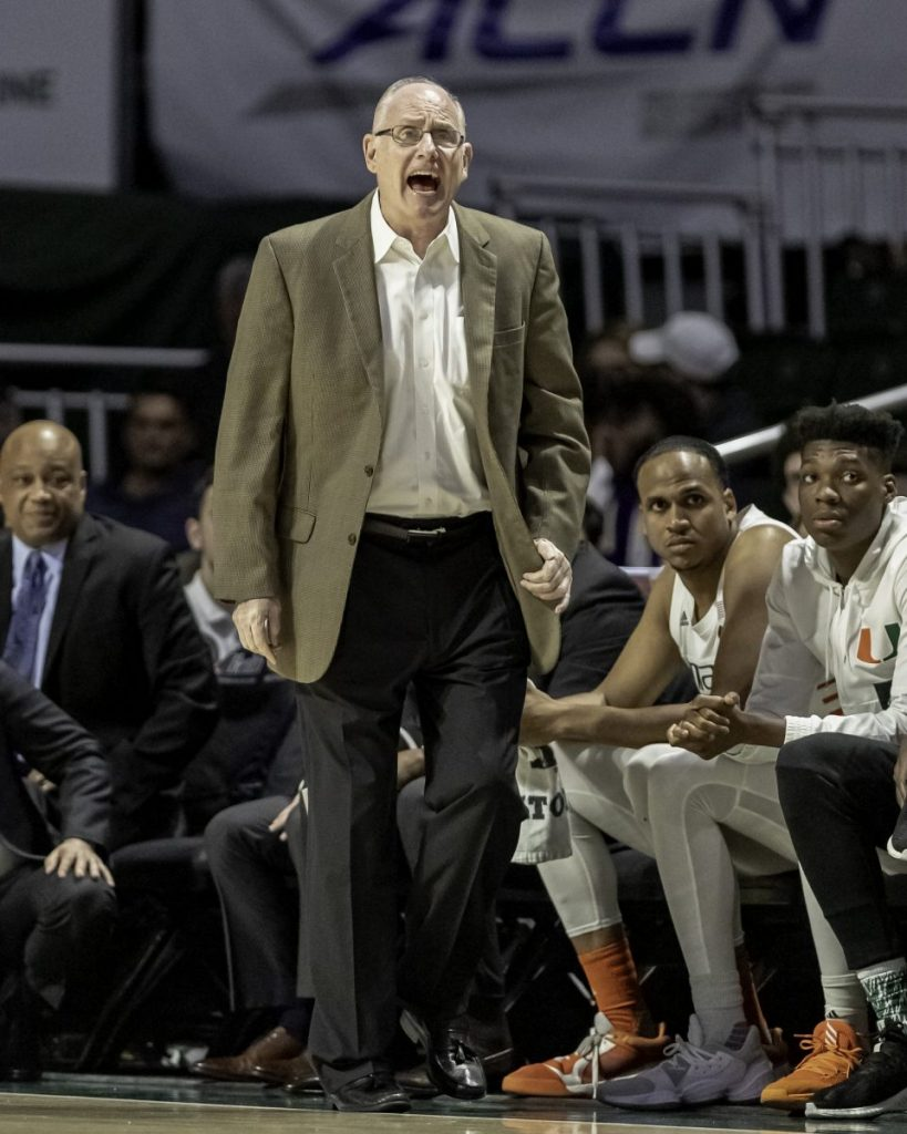 Head coach Jim Larra�aga yells at one of Miami�s players during the second half of Miami�s loss to Virginia Wednesday, March 4. Miami will conclude their regular season play at home against Syracuse, Saturday, March 7 at 4:00pm.