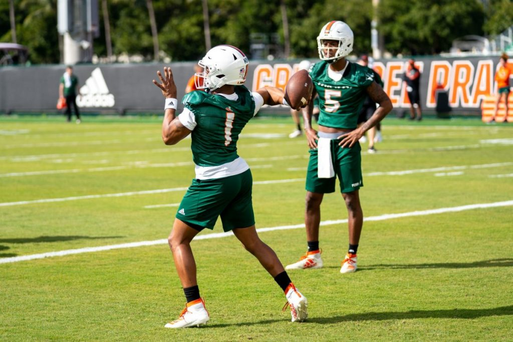 Redshirt Senior quarterback D'Eriq King throws the ball during the first day of Miami's spring training on Wednesday, March 2 at the Greentree Practice Facility.