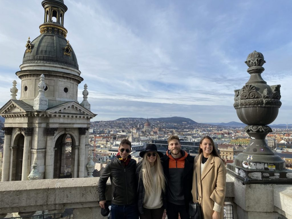 From left, Jeffrey Lockom, Ashley Rock, Dylan Aaron and Olivia Baker take advantage of a photo-op in Budapest, Hungary, one of the countries they visited during their time studying abroad in Rome.