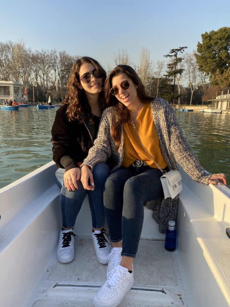 From left, Corinne Issa an Haley Jane Grey ride in a paddle boat at Retiro Park Lake in Madrid. Issa studied abroad in Madrid