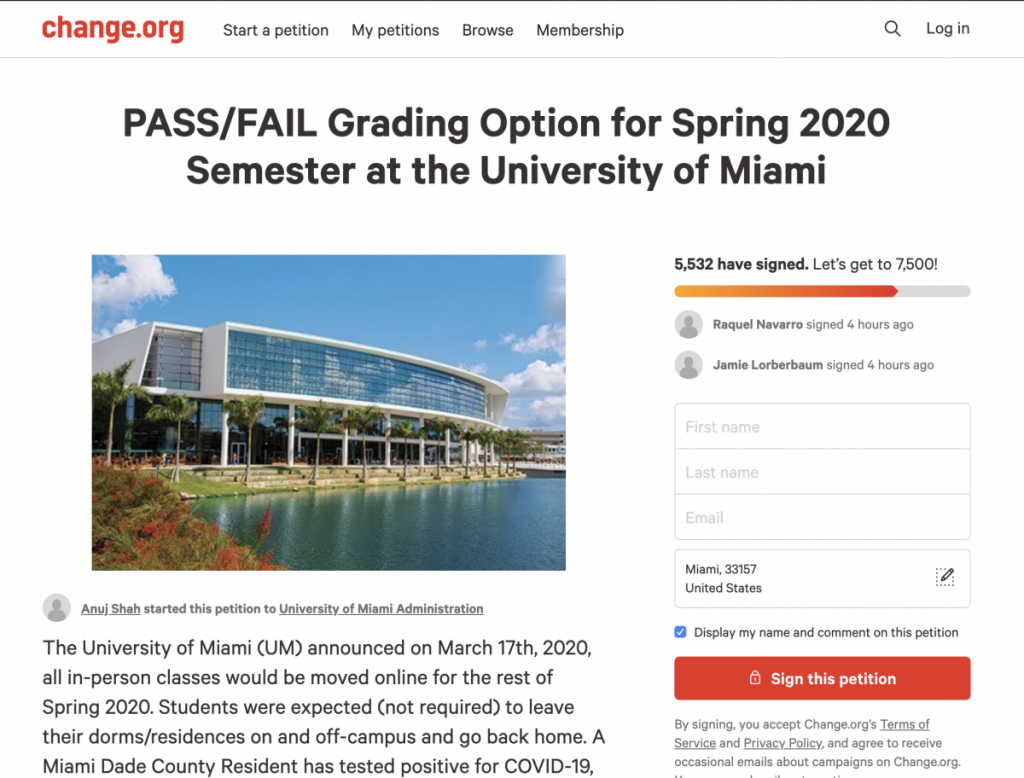 UM student Anuj Shah created a Change.org petition to call on the administration to implement a pass/fail grading option for the spring 2020 semester.