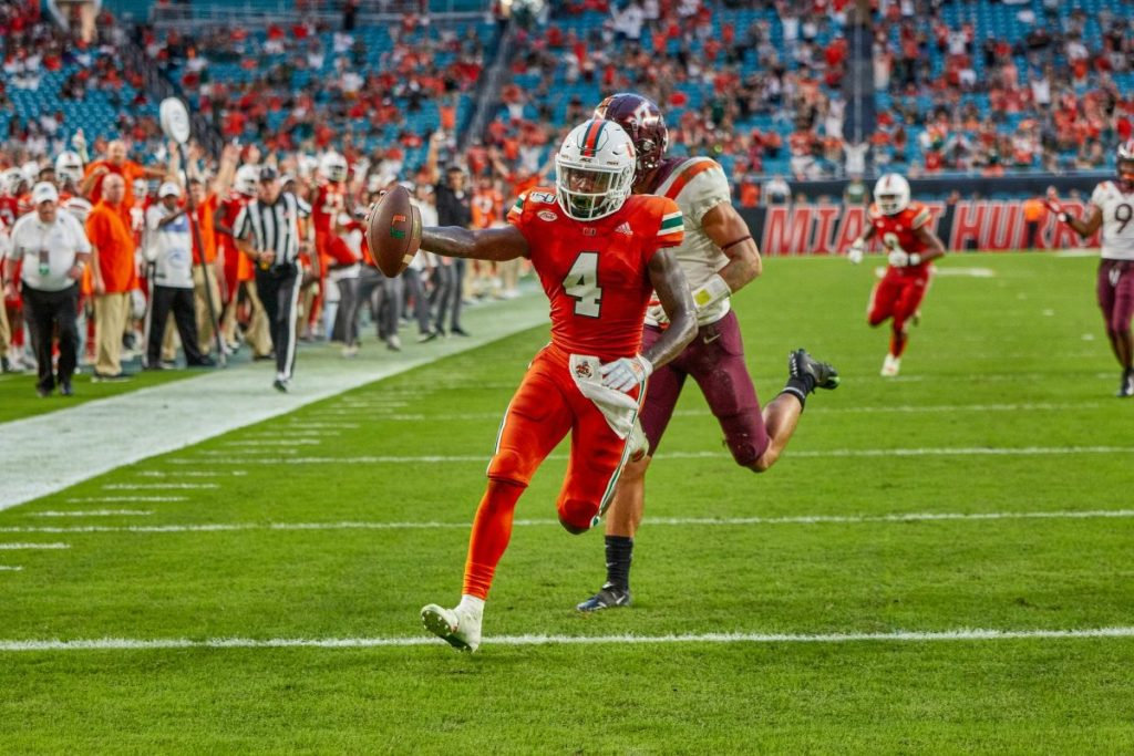 Jeff Thomas scores a touchdown during Miami's game against Virginia Tech on Oct. 5, 2019.