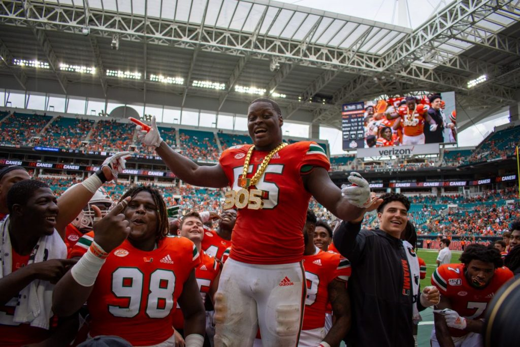 Shaq Quarterman (55) wears the turnover chain during Miami loss to Georgia Tech on Oct. 19, 2019
