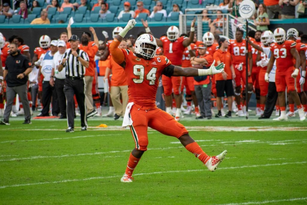 Trevon Hill hypes up the crowd at Miami's game against Virginia Tech on Oct. 5, 2019.