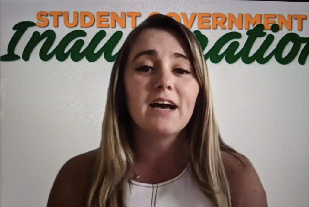 """Emily Gossett ran for president as part of the """"Empower U"""" campaign alongside Vice President Millie Chokshi and Treasurer Jason Kaplan. She gave her final speech as president during the Student Government Inauguration on Tuesday, April 7."""