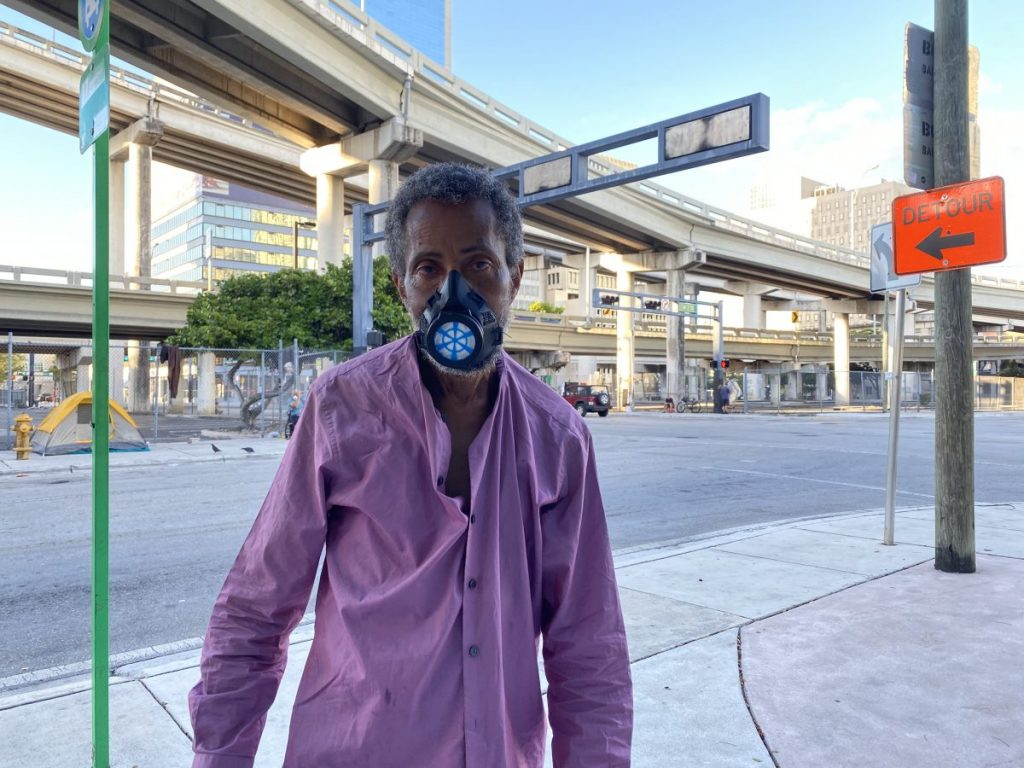 A short walk away from their Brickell apartment, the Levine brothers distributed masks on Sunday, May 4.