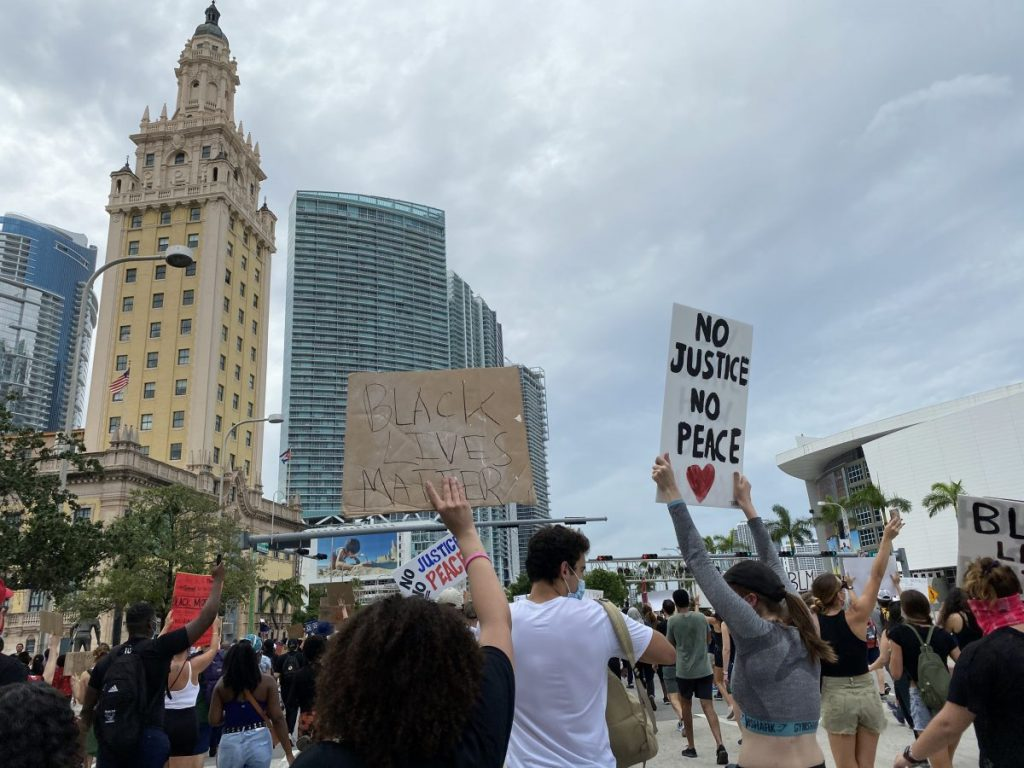 Protestors march on Biscayne Bvld in Miami, FL on Saturday, June 6, 2020.
