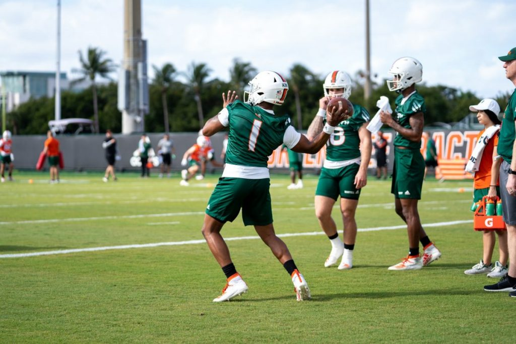 Redshirt Senior quarterback D'Eriq King throws the ball during the first day of Miami's spring training on March 2 at the Greentree Practice Facility.
