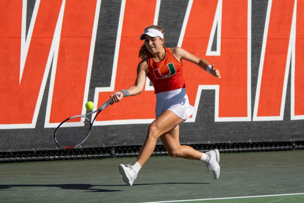 Estela Perez-Somarriba chases down the ball during the Miami Spring Invite  at the Neil Schiff Tennis Center in Coral Gables, FL on Jan 19.