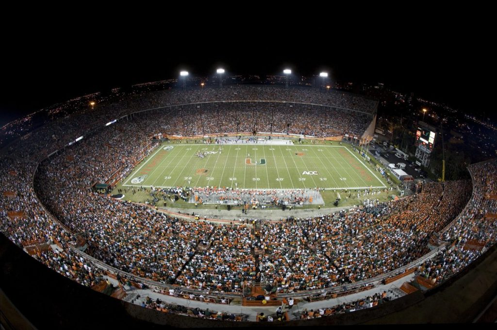 The Orange Bowl, the former home of the Hurricanes, is pictured during Miami's final game at the historic stadium, versus Virginia on Nov. 10, 2007.