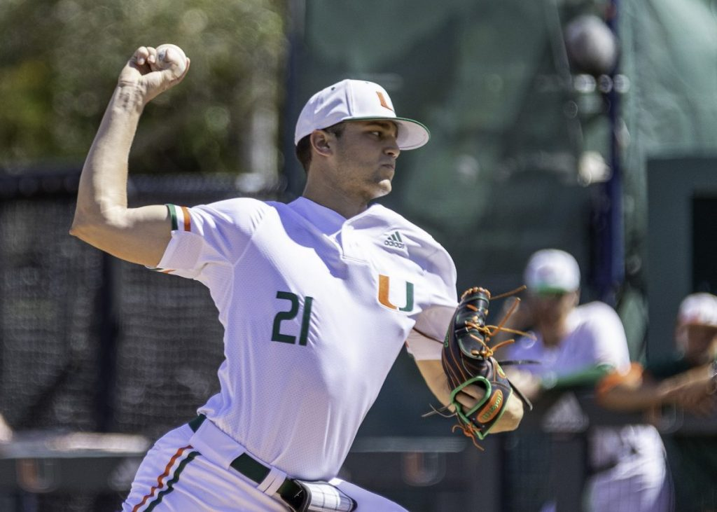 Pitcher Slade Cecconi winds up during Miami's game versus the University of Florida on Feb. 23 at Mark Light Field in Coral Gables, FL. Cecconi was picked by the Arizona Diamondbacks 33rd overall in the 2020 MLB Draft.
