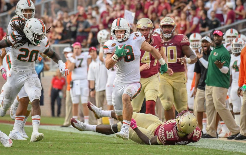 Wide Receiver Braxton Berrios sprints towards the endzone during Miami's game versus Florida State University at Doak Campbell Stadium on Oct. 7, 2017.