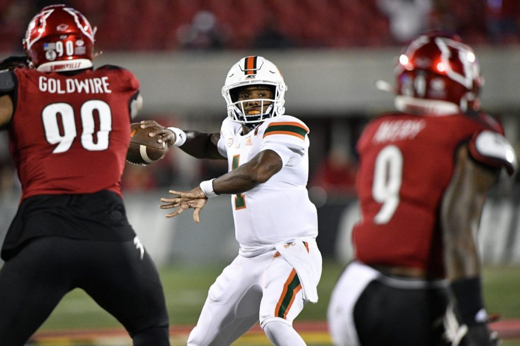 Quarterback D'Eriq King (1) looks to pass against the Louisville Cardinals during the first half of play at Cardinal Stadium in Louisville, Ky. on Saturday, Sept. 19.