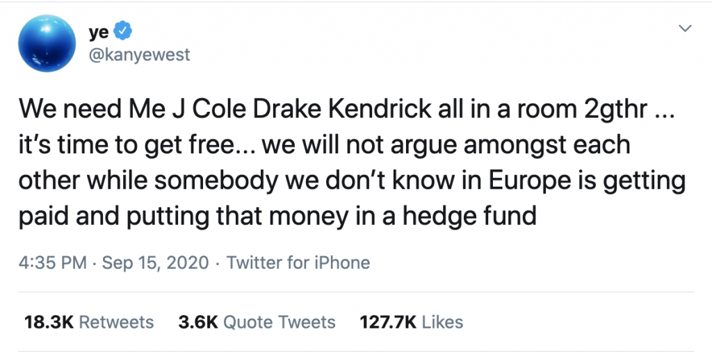 West followed this rant by urging J Cole, Drake and Kendrick Lamar to meet up and discuss this issue, as their leadership of their genre and industry could combine some force.