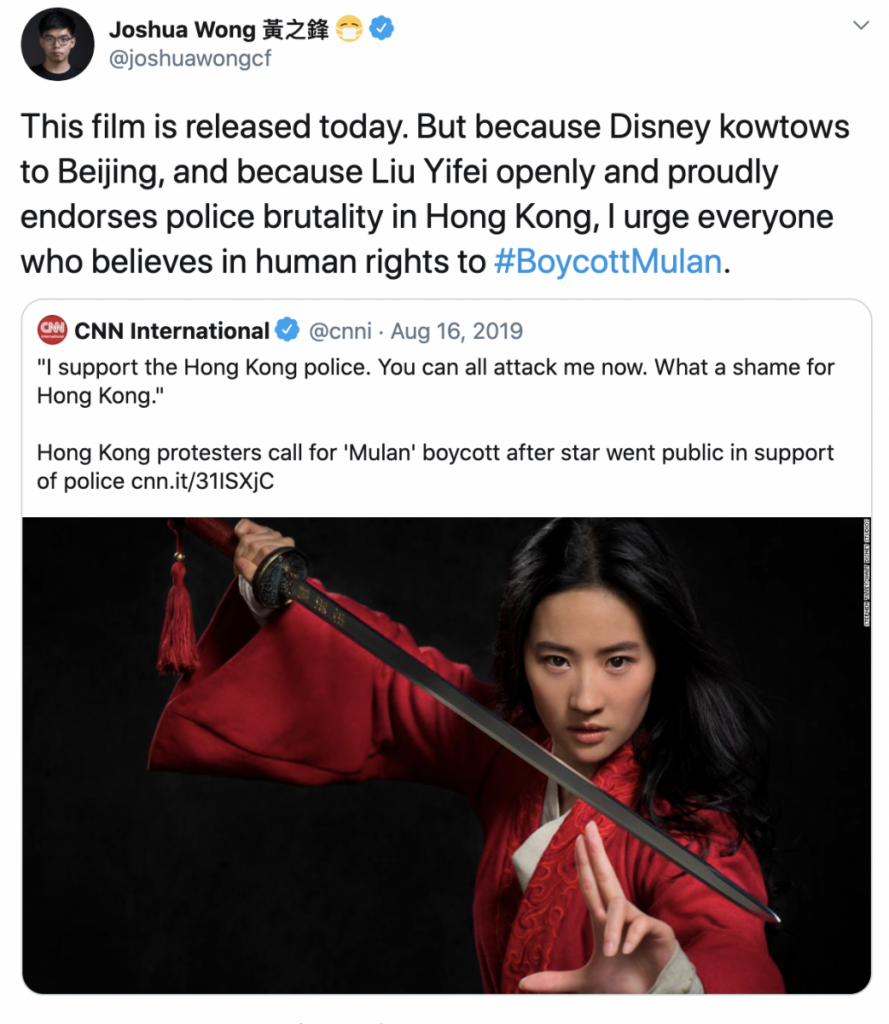 Hong Kong activist Joshua Wong expresses support for the #BoycottMulan movement.