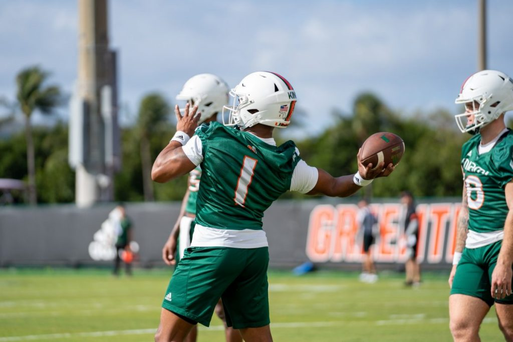 Redshirt Senior quarterback D'Eriq King throws the ball during day one of Miami's spring practice on March 2 at the Greentree Practice Facility.