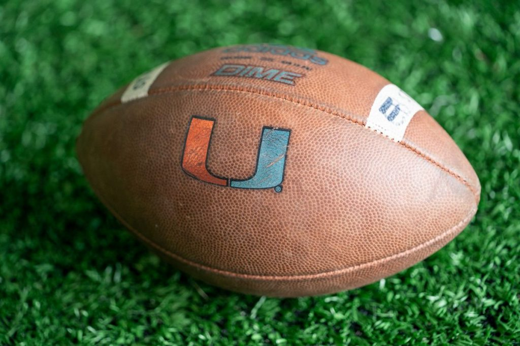 A football sits on the artificial turf of the Carol Soffer Indoor Practice Facility during day 3 of the 'Canes spring practice on March 5.
