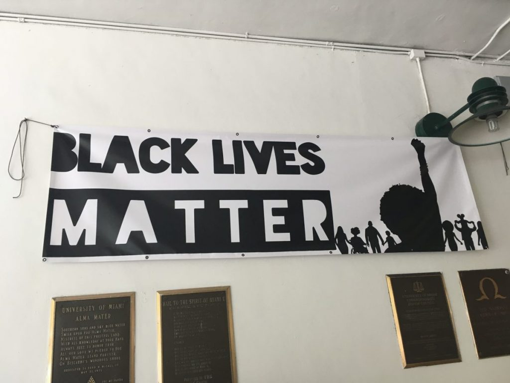 Black Lives Matter sign hanging up in the Breezeway on campus back in February 2017, which was later stolen.