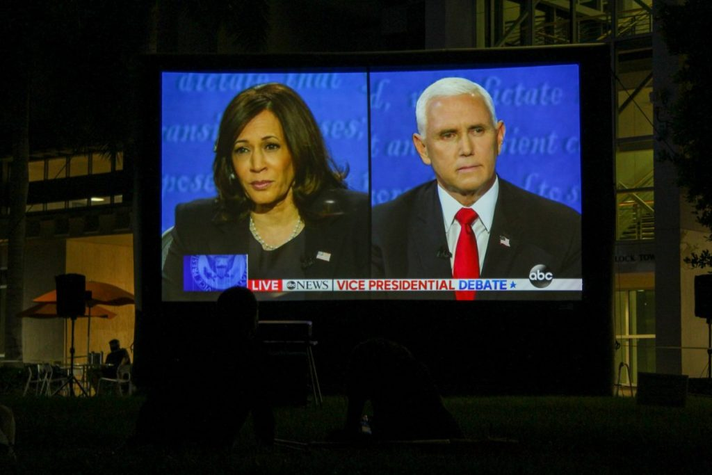 Students watch Harris, Pence in their first and only debate