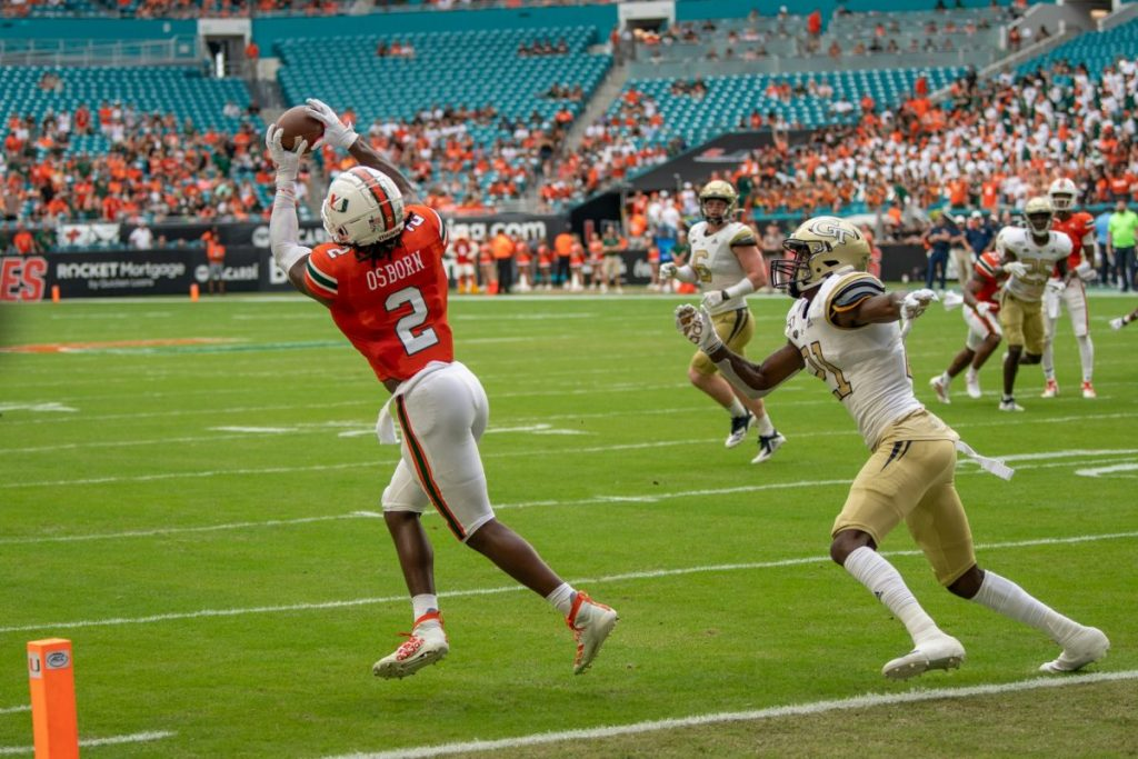 K.J. Osborn catches a pass during Miami's loss to Georgia Tech on Oct. 19, 2019.