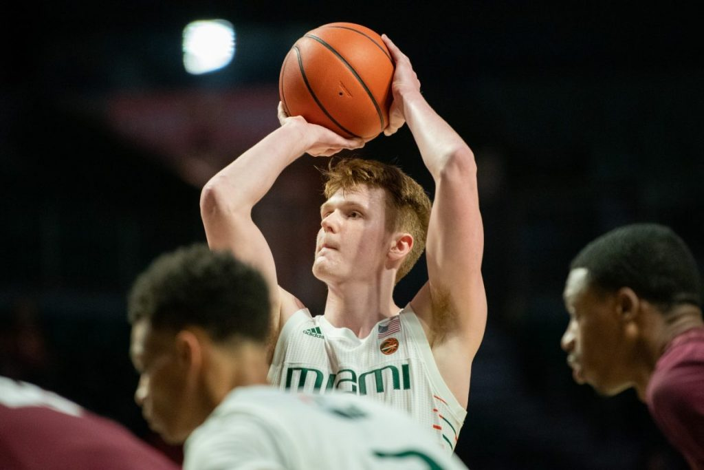 Redshirt Senior Forward Sam Waardenburg shoots a free-throw during Miami's game versus Alabama A&M in the Watsco Center on Dec. 14, 2019.