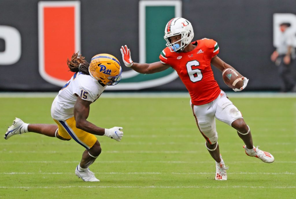 Wide receiver Mark Pope (6) runs the ball as defensive back Jason Pinnock (15) defends in the third quarter during Miami's game versus Pittsburgh at Hard Rock Stadium in Miami Gardens, Florida on Saturday, Oct. 17.