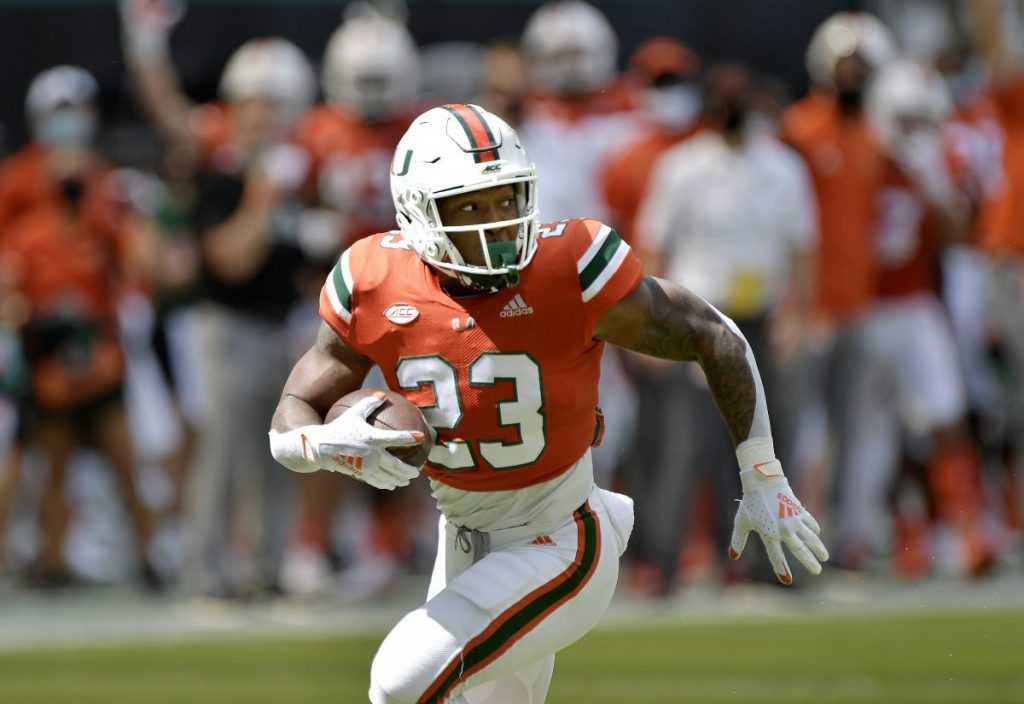 Running Back Cam'Ron Harris runs to the end zone for a first quarter touchdown during Miami's game versus Pittsburgh at Hard Rock Stadium in Miami Gardens, Florida on Saturday, Oct. 17, 2020.
