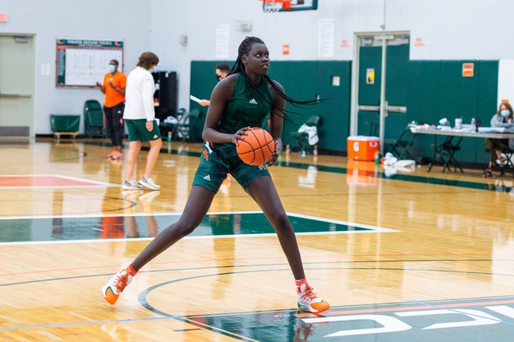 Freshman forward/guard Nyayongah Gony in the practice facility.