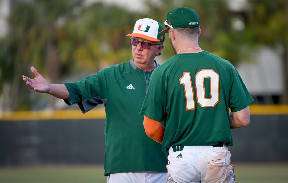 Morris instructs infielder Romy Gonzalez before his final season as head coach in 2018. Under his coach's watch, Gonzalez batted .273 during his and Morris' final year.