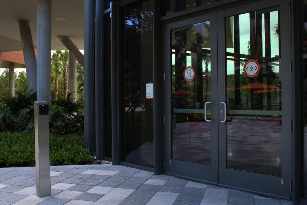 D Lobby of Lakeside Village and the card scanner required to enter the building. Scanners have been installed across campus so only those with a CaneCard can enter.