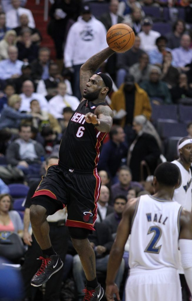LeBron James dunks during the Miami Heat's game versus the Washington Wizards on March 30, 2011.