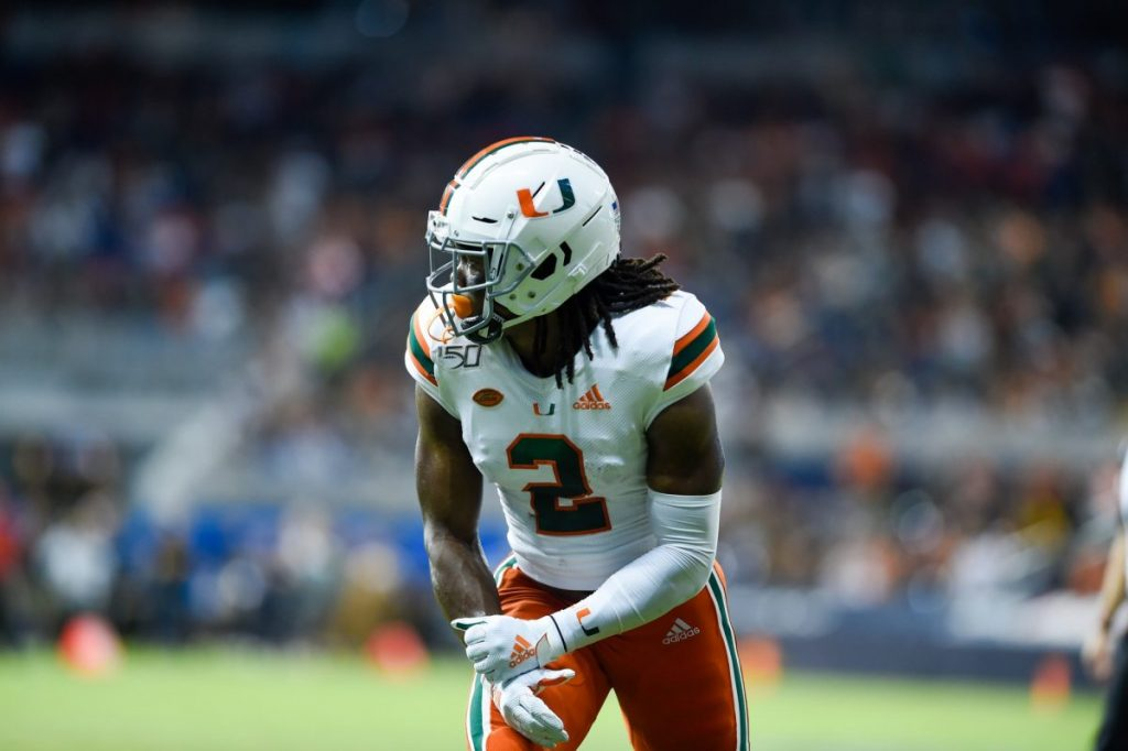 Former 'Cane wide receiver K.J. Osborn at the line of scrimmage during Miami's game versus Florida International University at Marlins Park on Nov. 23, 2019. Osborn had one punt return and a special teams tackle in the fourth quarter during the Minnesota Vikings' game versus the Chicago Bears on Monday, Nov. 16.