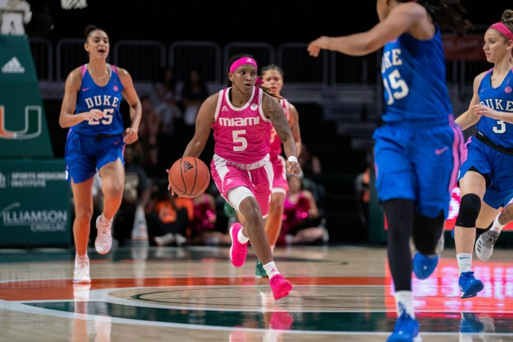 Junior guard Mykea Gray dribbles downcourt during Miami's game versus Duke on Feb. 9. Gray will miss the upcoming season due to an ACL injury sustained in practice.