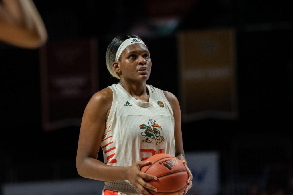 Sophomore forward Brianna Jackson at the free-throw line during Miami's game versus Florida State University in the Watsco Center on Jan. 5.