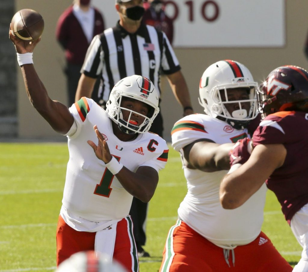 """""""On the brink"""" of not playing, short-handed Hurricanes come back in fourth quarter to beat Virginia Tech"""