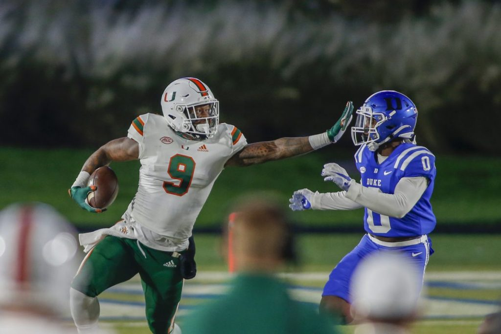 Miami obliterates Duke 48-0 after three-week hiatus