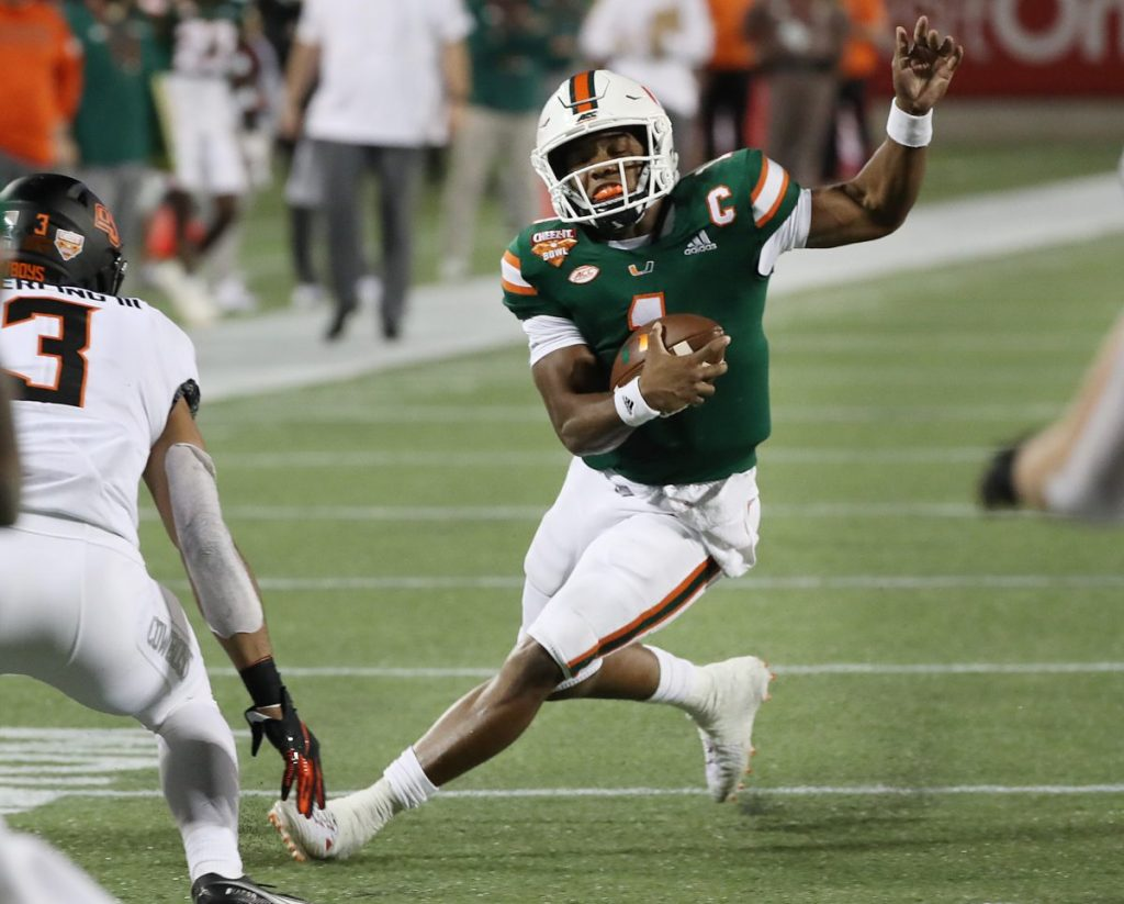 No. 18 Hurricanes come back from 21-point deficit but fall short against No. 21 Oklahoma State without QB D'Eriq King in Cheez-It Bowl