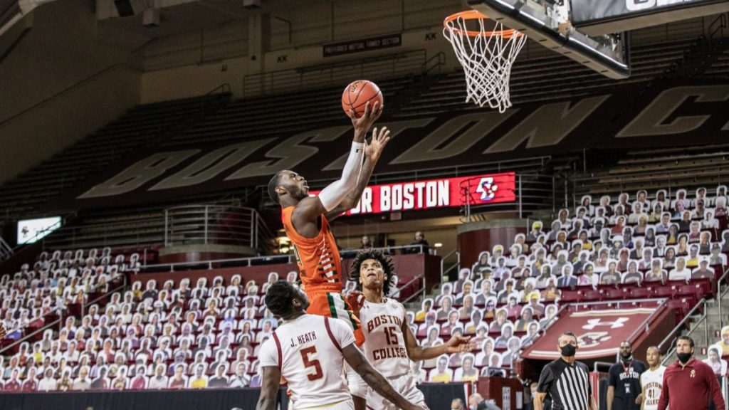 Miami allows 18 3-point shots in 84-62 road loss at Boston College
