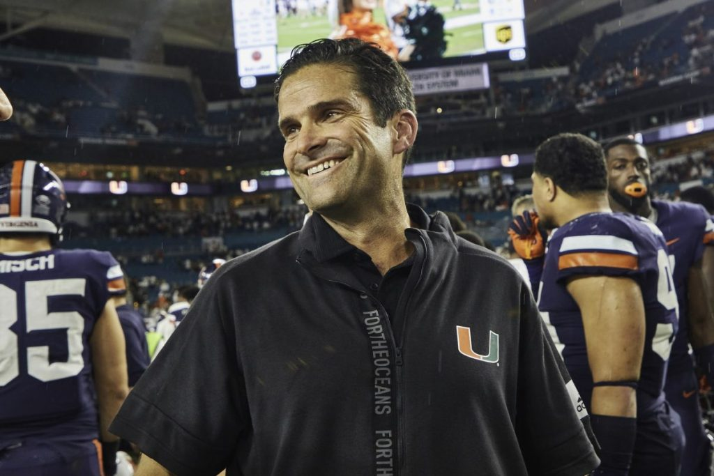 Head Coach Manny Diaz smiles after Miami's win over Virginia at Hard Rock Stadium in Miami Gardens, FL on Oct. 11, 2019.